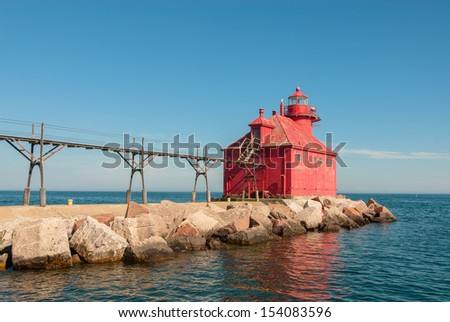 Lighthouse at Sturgeon Bay Ship Canal Pierhead , Door County , Wisconsin - stock photo