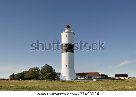Lighthouse at the south end of Ã?Â?land, Sweden. - stock photo