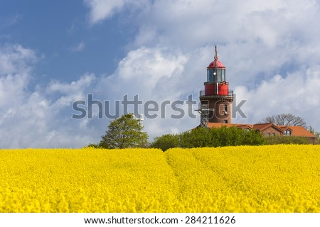 Lighthouse Bastorf on the Baltic Sea Coast - stock photo