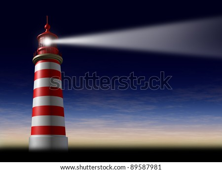 Lighthouse beam of light and beacon of hope and strategic guidance symbol as a concept of beaming glow from the high tower for security and clear direction in business on a night sky with a sunset. - stock photo