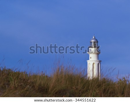 Lighthouse behind grassy dunes