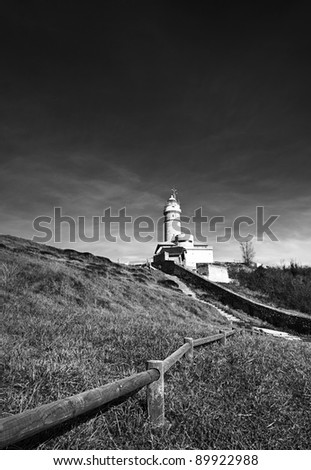 Lighthouse black and white landscape