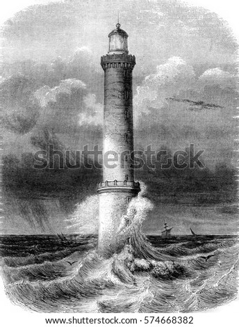 Lighthouse Brehat, near Treguier, department of North Cotes, vintage engraved illustration. Magasin Pittoresque 1845.