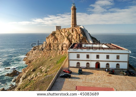 lighthouse Cabo Vilan on atlantic ocean (Galicia) - stock photo