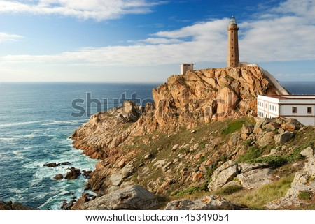 lighthouse Cabo Vilan on the atlantic ocean (Galicia)