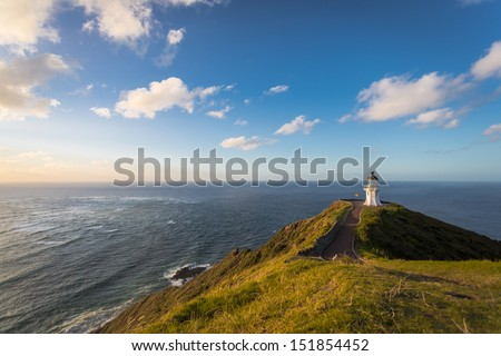 Lighthouse Cape Reinga on the North Island of New Zealand - stock photo