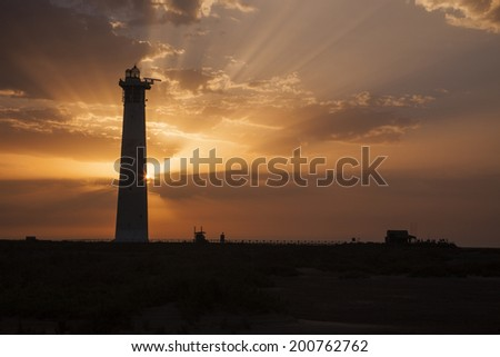 Lighthouse during sunrise in the early morning Fuerteventura, Canary Islands