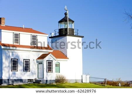 lighthouse Fort Point Light, Stockton Springs, Maine, USA - stock photo