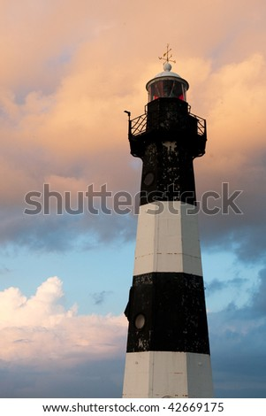 Lighthouse from Breskens in Holland by sunset - stock photo
