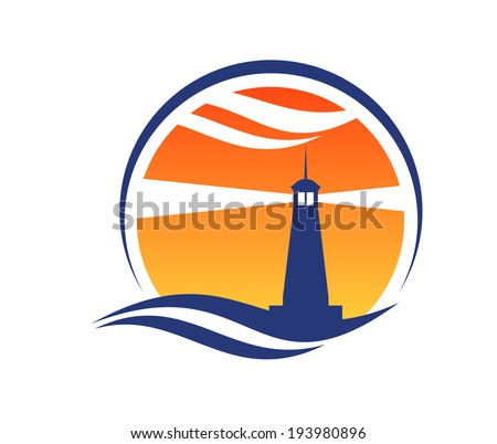 Lighthouse icon at sunset with beams of light shining through an orange sky from a silhouetted lighthouse with an ocean wave below logo. Vector version also available in gallery - stock photo