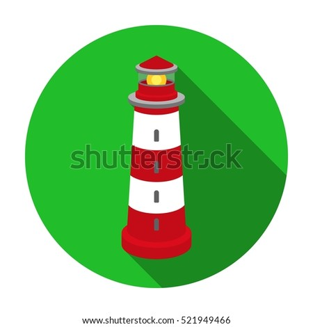 Lighthouse icon in flat style isolated on white background. Light source symbol stock bitmap illustration