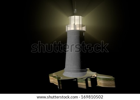 Lighthouse illuminating the darkness, 3d render