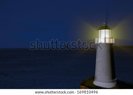 Lighthouse illuminating the sky over the sea, 3d render