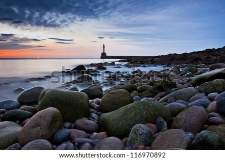 Lighthouse in Aberdeen- Scotland long exposure photo - panorama - stock photo