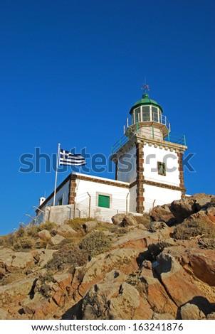 Lighthouse in Akrotiri (Santorini Island - Greece) - stock photo