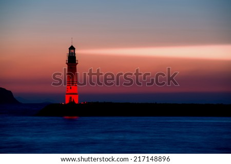 Lighthouse in Bodrum Turgutreis, Turkey - stock photo