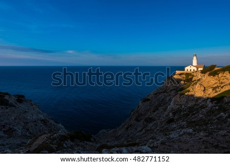 Lighthouse in Capdepera, Majorca, Balearic Islands, Spain around sunset.