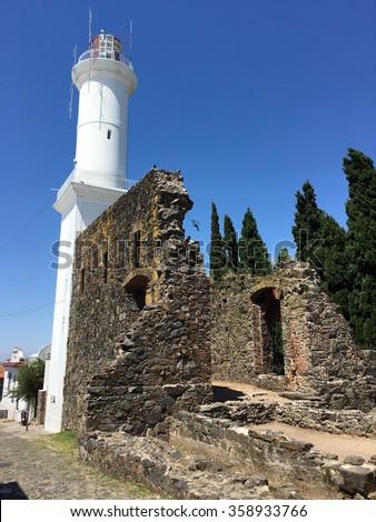 Lighthouse in Colonia del Sacramento, Uruguay - stock photo