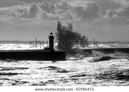 Lighthouse in Foz of Douro, Portugal