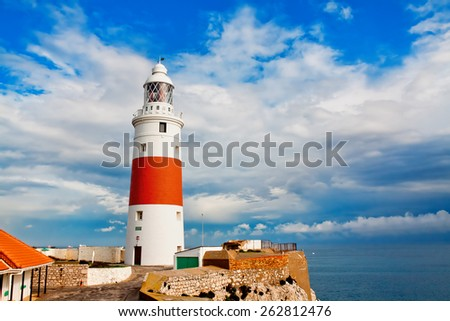 Lighthouse in Gibraltar - stock photo