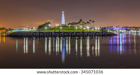 Lighthouse in Long Beach Harbor California - stock photo