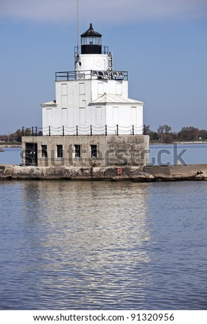 Lighthouse in Manitowoc, Wisconsin, Autumn afternoon. - stock photo
