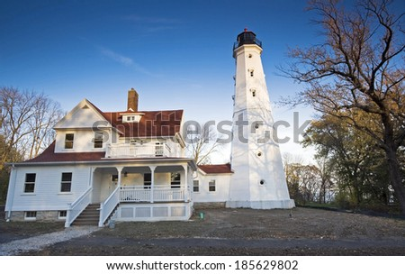 Lighthouse in Milwaukee, Wisconsin, USA. - stock photo