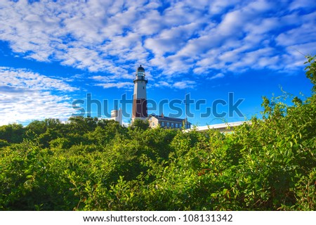 Lighthouse in Montauk Point New York Captured In Early Morning Sun. - stock photo