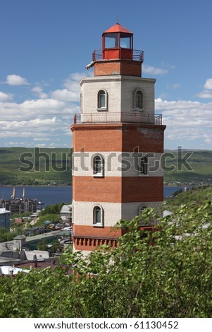 lighthouse in Murmansk - stock photo