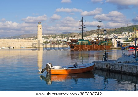 Lighthouse in Rethymno - Crete, Greece - stock photo