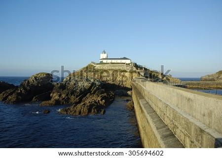 Lighthouse in Tapia de Casariego Asturias Spain - stock photo