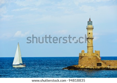 Lighthouse in the harbor of Chania/Crete/Greece - stock photo