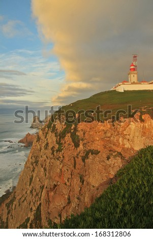 Lighthouse in the most west point of the Europe (Cabo da Roca) - stock photo