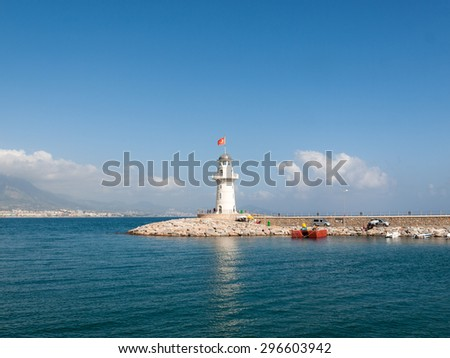 Lighthouse in the port of Alanya, Turkey.  - stock photo