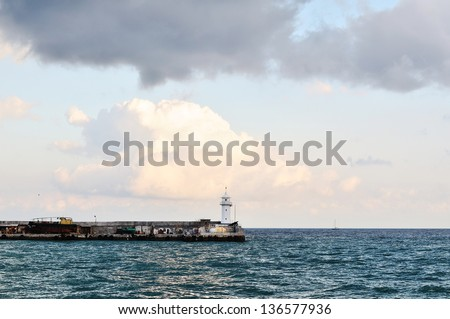 lighthouse in Yalta city - stock photo