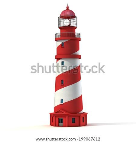 lighthouse isolated on white - stock photo