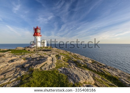 Lighthouse Lindesnes Fyr on most southern point of Norway