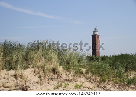 Lighthouse near Ouddorp, The Netherlands - stock photo