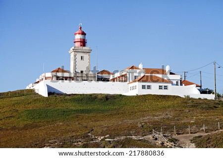 Lighthouse of cabo da roca, the western point of Europe