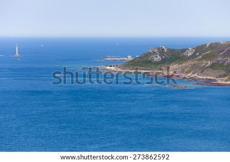 Lighthouse of Goury on Cap de la Hague - Phare de la Hague, Goury, Basse Normandy, France - stock photo