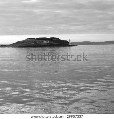 Lighthouse of the Georges Island, Halifax, Harbour, Nova Scotia, Canada. - stock photo