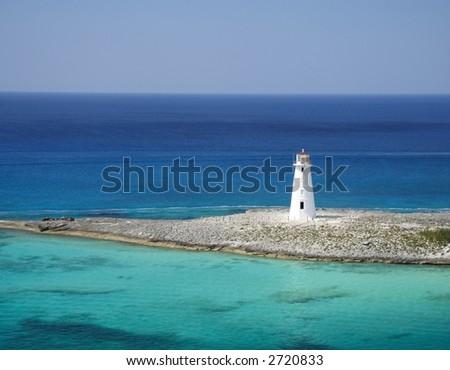 Lighthouse on a caribbean island - stock photo