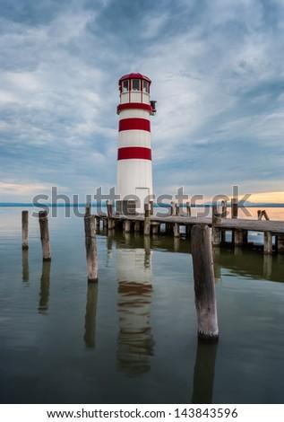 Lighthouse on Neusield Lake near Podersdorf, Burgenland, Austria - stock photo