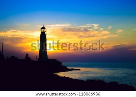 Lighthouse on sunset. Crimea, Ukraine - stock photo