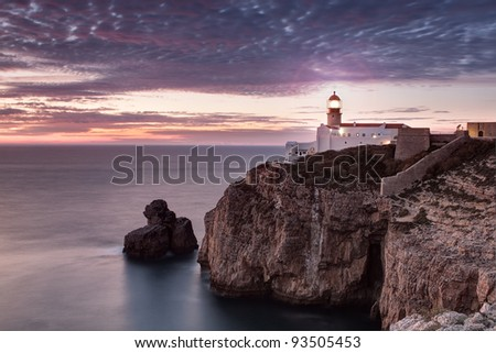 lighthouse on the coast of Portugal. seascape