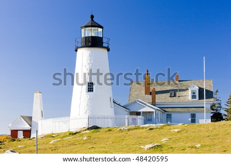 lighthouse Pemaquid Point Light, Maine, USA - stock photo