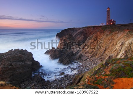 Lighthouse S�£o Pedro de Moel in Portugal at nightfall