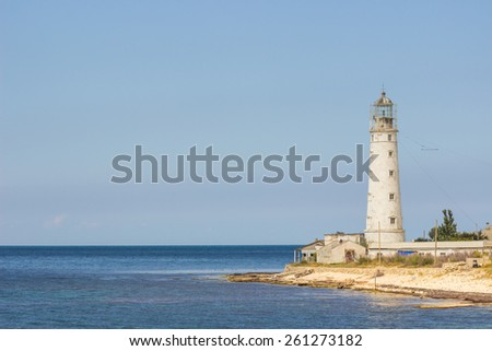 lighthouse Tarkhankut in the western part of crimea, Ukraine - stock photo