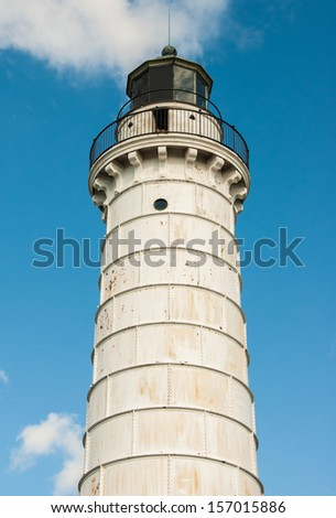 LIghthouse tower at Cana Island in Door County , Wisconsin - stock photo