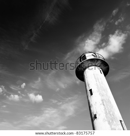 Lighthouse, white and black photo
